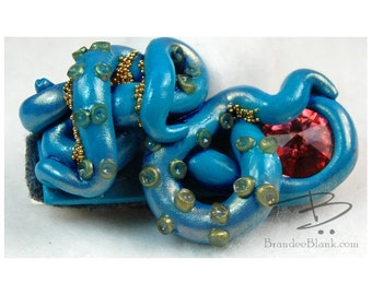 Tentacle Hair Clip in Teal and Peach  1 - free US Shipping!