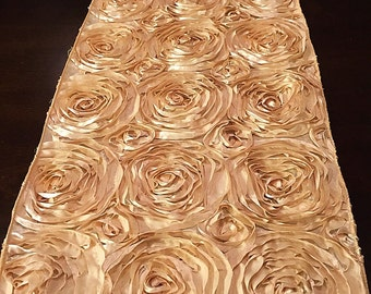 Satin rosette table runner, home decor, wedding decor,  various colors and sizes available, fantasy fabric designs, fantasyfabricdesigns