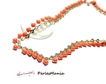 20 cm chain mini heart enameled metal gold and enamel coral FLASHY, DIY