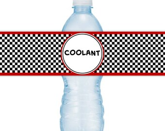 Race Car Water Bottle Labels, Coolant, Racing Birthday Party, INSTANT DOWNLOAD - you print, you cut, DIY water bottle labels