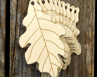 10x Wooden Oak Leaves Craft Shapes 3mm Plywood Tree English Quercus Robur Leaf