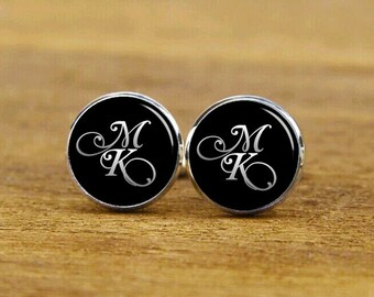 custom initial cufflinks, custom monogram cuff links, round, square cufflinks, tie clips, wedding cuff links, groom cufflinks, wedding gift