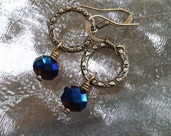 Midnight Blue Infinity Earrings with Antique Brass