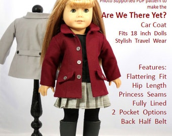 "18 inch Doll Clothes Pattern - ""Are We There Yet?"" - Car Coat fits 18 inch dolls such as American Girl®"