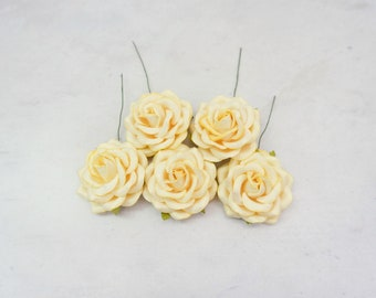 5 pc - 6 cm light yellow paper roses with wire stems - 60mm paper roses