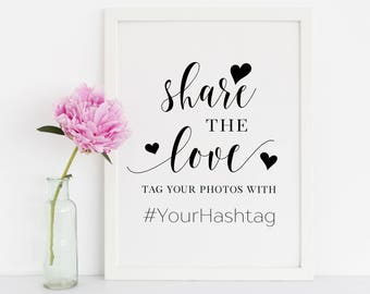 Share The Love Sign, Wedding Signs, Share The Love Hashtag Sign, Wedding Hashtag Sign, Hashtag Sign Wedding, Personalized Wedding Sign