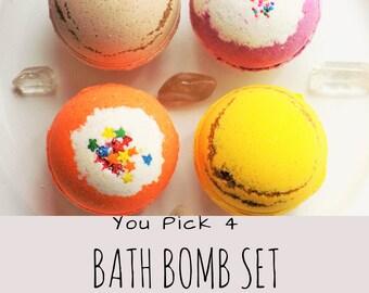 Bath bomb gift set - Bath Bomb - bathbombs - pick 4 - self care - graduation gift - birthday gift - baby shower gift - lush - natural