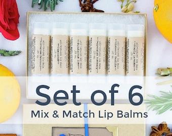 Organic Lip Balm Gift Set / Set of 6 Shea Butter Lip Balms / Natural Lip Balm Set / Mothers Day / Natural Skin Care / Handmade Lip Balm Gift