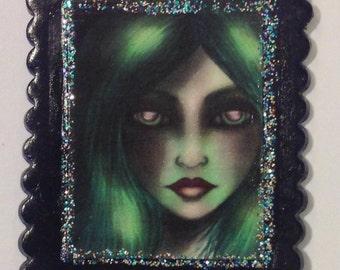 Fairy Art Miniature Portrait - Jewelry Brooch / Pin / Wall Art
