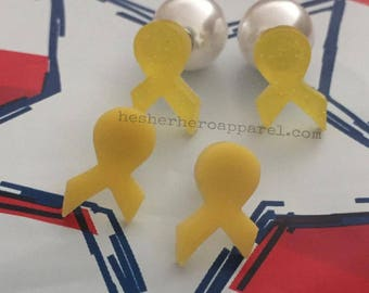 support our troops earrings, yellow ribbon earring, military gift, military girlfriend