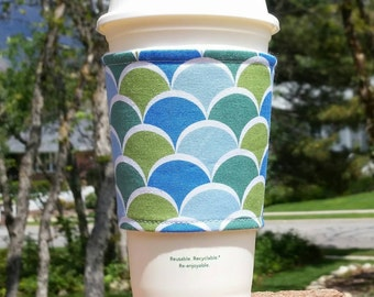 FREE SHIPPING UPGRADE with minimum -  Fabric coffee cozy / cup sleeve / coffee sleeve / cup cozy / Scallops of Blue and Green