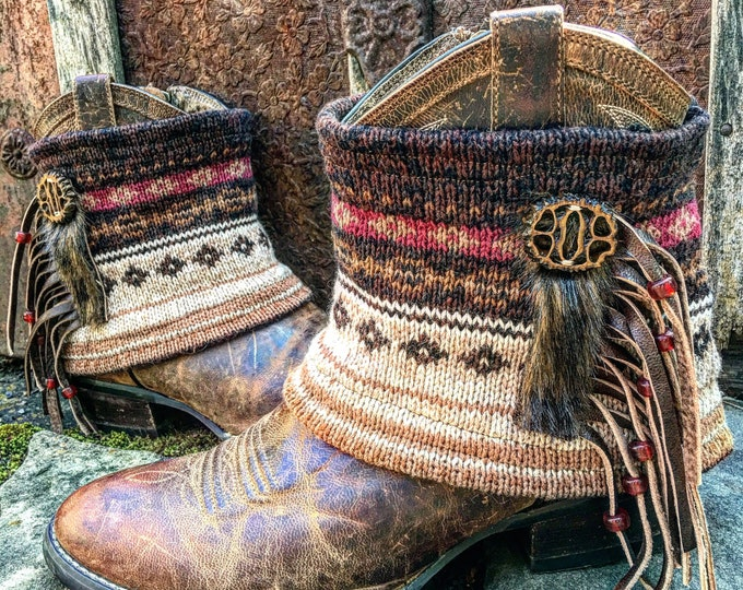 Fair Isle Woodland Dreamcatcher Boot Sweaters. Genuine Leather Fringe. Faux Fur. Glass Beads. Bohemian. Sold as a pair ~ Ready to Ship