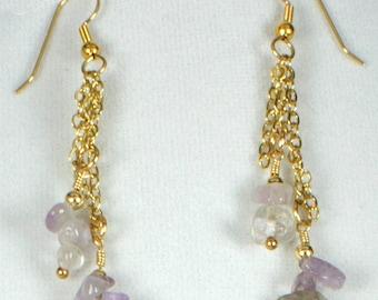 Amethyst Earrings, Modern Amethyst Earrings, Amethyst Dangle Earrings, Amethyst with Chain, February Birthstone