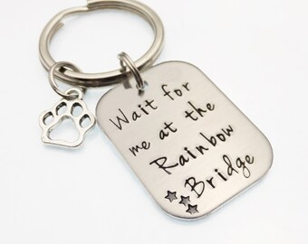 Rainbow Bridge Poem Hand Stamped Pet Memorial | Pet Loss Keychain | Paw Print Keychain | Pet Loss Gift | Loss Of Pet | Dog Loss | Cat Loss