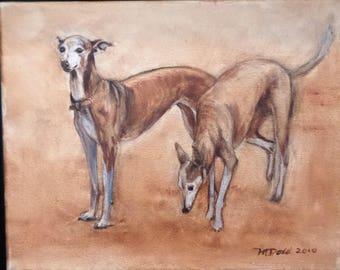 A Graceful Pair - 8 x 10 inch original oil painting of greyhounds by Martha Dodd