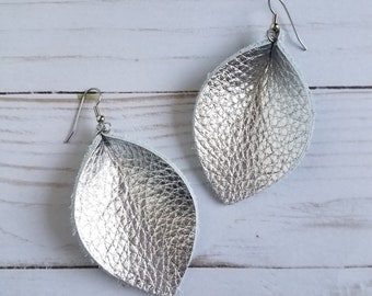 Metallic Silver Leather Leaf Earrings - Pinched Earrings - Genuine Leather - Dangle Earrings - Spring Jewelry - Lightweight