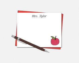 Personalized Note Cards - Apple Note Cards for Teachers - Set of 10 Flat Note Cards - Teacher Gifts - Custom Note Cards