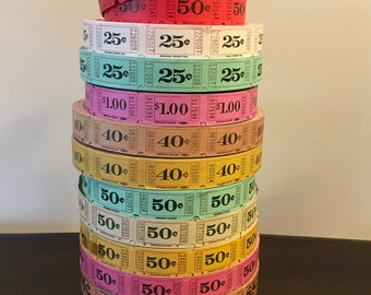 100 Raffle Tickets Orange, Red, Green, Blue, Yellow & Pink 25, 40, 50, 65 Cent and 1.00 Vintage Carnival Raffle Birthday Tickets