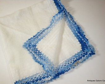 Vintage White Handkerchief,  Lacy Blue Crochet Trim, Mid Century Ladies Hanky, Hankie  (188-12)