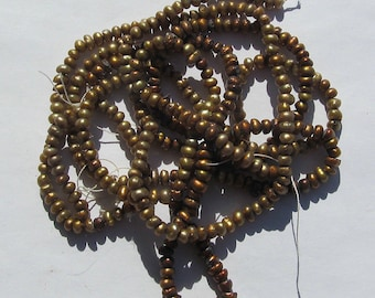 Pearl Freshwater Copper Button 5mm  - 3 strands
