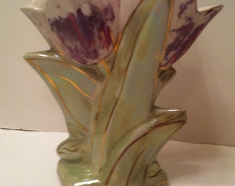 Vintage Double Tulip Gold Highlighted Vase