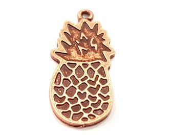 2 Pineapple Charm Copper Charms Copper Plated Charm (40x16mm) G9501