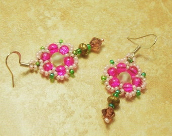 Delicate Spring In Japan Pink Beaded Flower Earrings