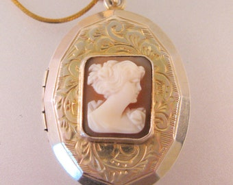 Antique Edwardian Cameo Locket Gilded Sterling Silver Necklace Antique Jewelry Antique Locket