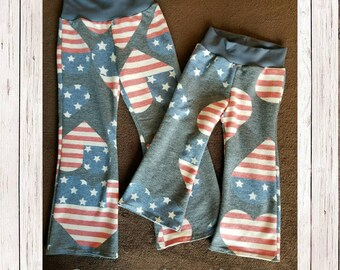 Toddler pants, girl's pants, lounge pants, kid's clothing, handmade pants, kids pajama pants, patriotic, patriotic pants