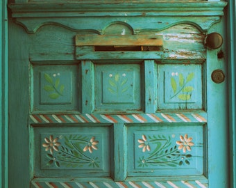 Turquoise Door, New Mexico Photography, Door Photography, Southwestern, Santa Fe, Mexican Decor, Fine Art Photography