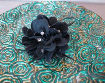 Black Flower Hair Barrette