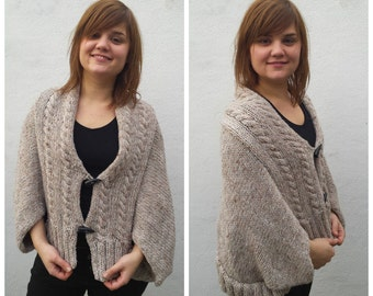 Beige alpaca sweater, cable knit poncho, cable knit sweater, oversized sweater, oatmeal sweater, knit sweater, sweater loose, knit poncho