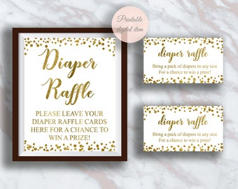 Diaper raffle ticket,  Diaper raffle  sign,  Baby shower diaper raffle cards, Gold confetti, Baby shower ideas, Invitation insert s2bb