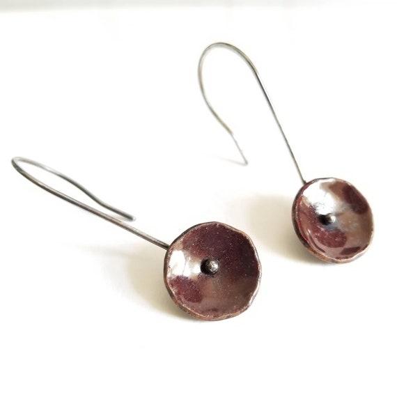 Dark Brick Red Earrings- Glass Enamel & Sterling Silver, Enameled Copper, Silver Jewelry, Boho Earrings Made in Canada