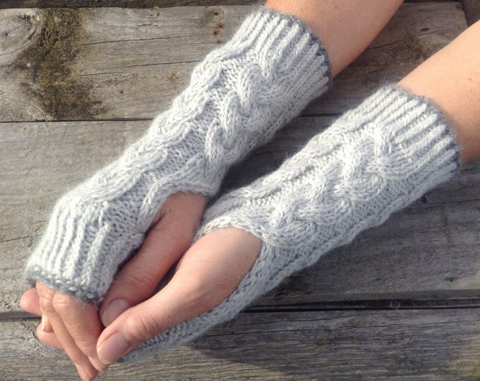 Ladies luxury pale grey pure alpaca cable mitten gloves by Willow Luxury ( one size)