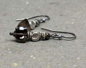 Smoky Quartz Earrings Pyrite Beads Oxidized Sterling Silver Geometric Jewelry Gift for Wife Gift for Girlfriend