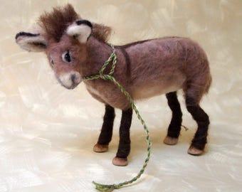 needle felted donkey