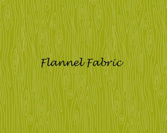 Green Flannel Fabric, Riley Blake Happy Harvest F4035 Green, Doodlebug Designs, Green Wood Grain Fabric,  Woodgrain Fabric, Cotton Flannel