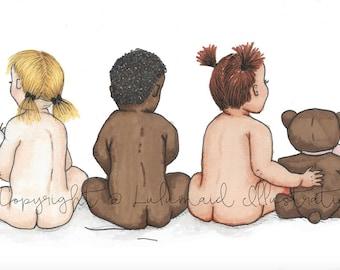 Bare Babies Illustration Print