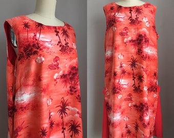 Vintage 1960's Tropical Hawaiian Tiki Shift Dress Size Large