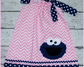 Pink Chevron and Navy Blue Cookie Monster Sesame Street Pillowcase style dress