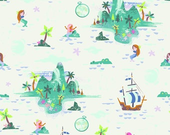 Neverland Fabric, Peter Pan, Island - Jill Howarth for Riley Blake - 6572 Cream - Priced by the half yard