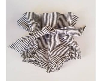 High waisted striped linen baby bloomers / diaper cover shorts