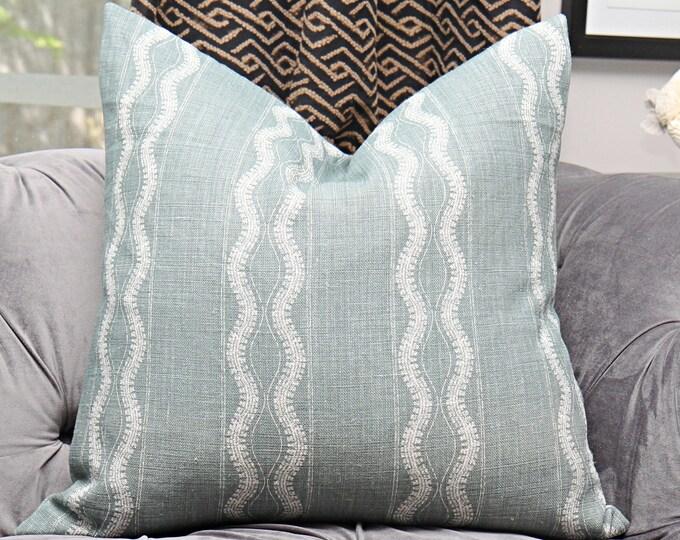 Peter Dunham Zanzibar in Ocean - Green Geometric Stripe Linen - Designer Green Pillow Cover - Motif Pillows - Global home decor