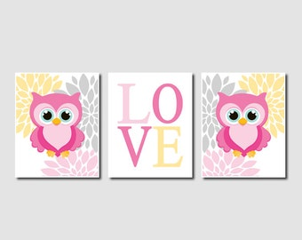 Owl Nursery Wall Art Prints Or Canvas Owl Nursery Decor Owl Nursery Art Pink Gray Nursery Decor Floral Nursery Decor Girl Pictures Set of 3