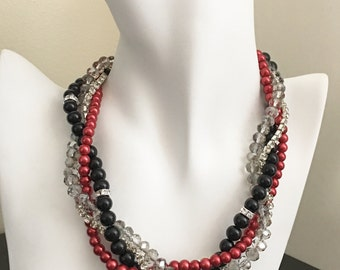 Christmas Jewelry Red and Black Necklace Statement Necklace Red Necklace Black Necklace Jewelry for Bridesmaid Gift Ideas Wedding Jewelry
