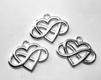 10 Silver heart infinity charms jewelry supplies necklace charms jewelry charms 16mm x 14mm B8091( DD2),