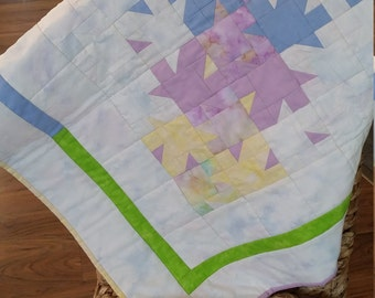 Pastel baby quilt, Baby floor quilt, Soft baby blanket, Modern baby quilt, Baby wall hanging quilt, Crib blanket, Baby quilt for a girl