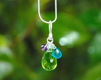 NEW Green Apple Quartz Teardrop Necklace / Sterling Silver / Aquamarine / Gemstone / Pendant / Purple / Blue / OOAK