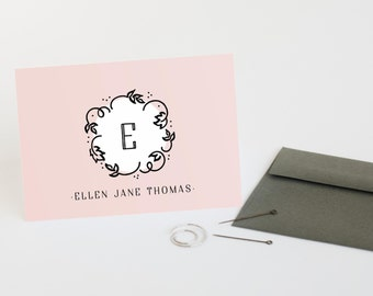 Monogram Stationery, Set of 12 Cute Personalized Note Cards // SO SWEET